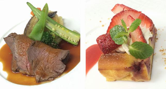 牛ロース肉のロースト 旬の苺のクラフティ